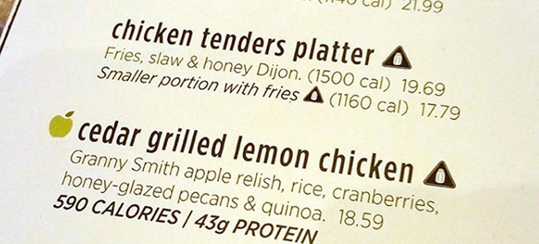 Calorieën op de menukaart